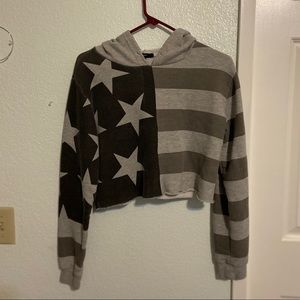 Gray and black American flag cropped sweater